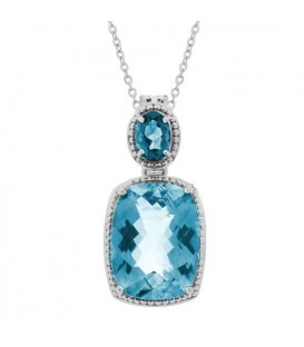 Necklaces - Blue Topaz Pendant 925 Sterling Silver