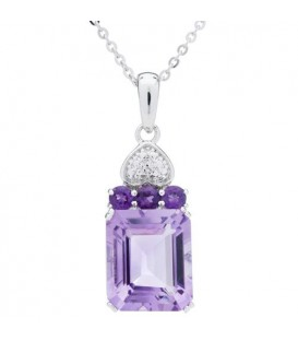 Necklaces - Amethyst Pendant 925 Sterling Silver