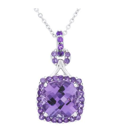 Necklaces - Amethyst Pendant in 925 Sterling Silver