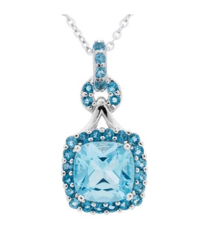 Necklaces - Blue Topaz Pendant 925 Sterling Silver Pendant
