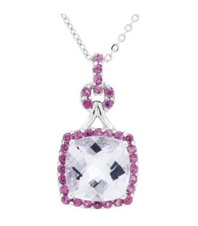 Necklaces - Multi-color Pink Amethyst Pendant 925 Sterling Silver
