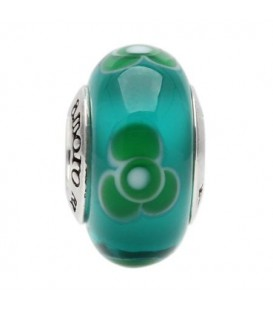 Charms - Murano Glass Turquoise Splash Bead Charm 925 Sterling Silver