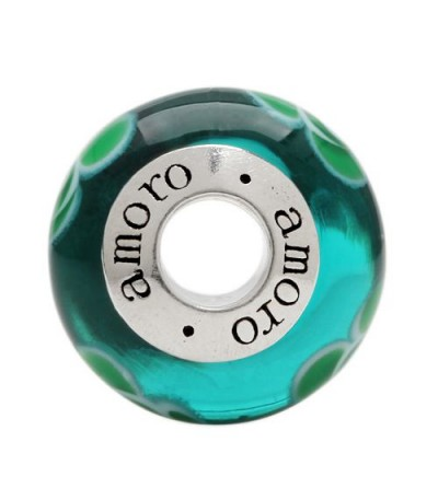 Murano Glass Turquoise Splash Bead Charm 925 Sterling Silver