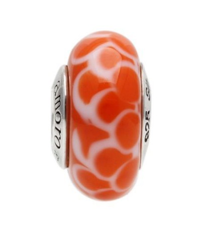 Charms - Murano Glass Coral Ripple Bead Charm 925 Sterling Silver