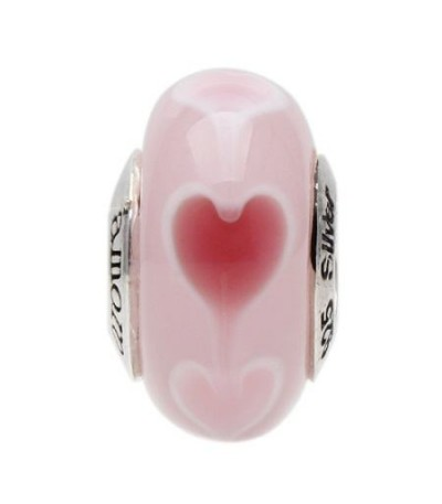 Charms - Murano Glass Rosey Heart Bead Charm 925 Sterling Silver