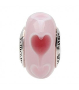 Murano Glass Rosey Heart Bead Charm 925 Sterling Silver