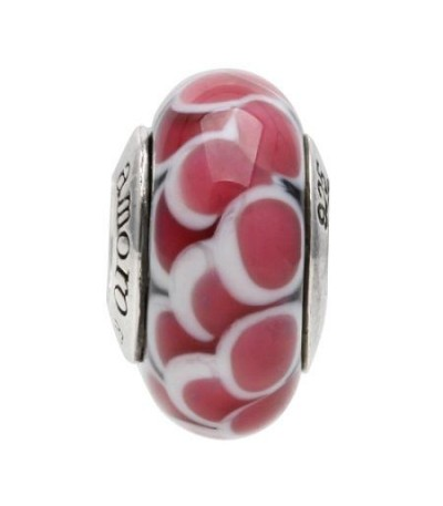 Charms - Murano Glass Pink Petal Bead Charm 925 Sterling Silver