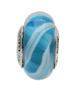 Charms - Murano Glass Caribbean Sea Bead Charm 925 Sterling Silver