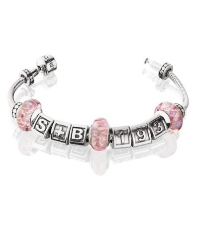 "Charms - Charm style Bead Bracelet 8.7"" 925 Sterling Silver"