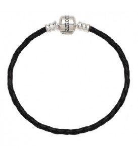 "Leather Charm Bracelet 8.3"" 925 Sterling Silver"