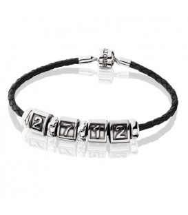 "Charms - Leather Charm Bracelet 8.3"" 925 Sterling Silver"
