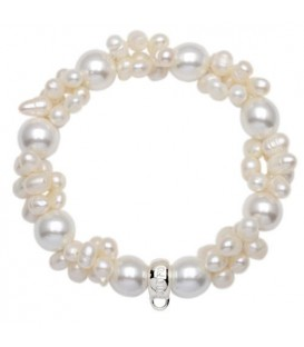 Cultured Pearl Bracelet Large 925 Sterling Silver