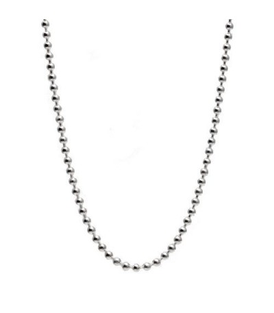 "Charms - Bead Chain Necklace 21"" 925 Sterling Silver"