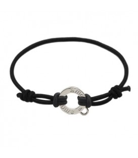 "More about Black Cord Cord Charm Bracelet 7.5"" 925 Sterling Silver"