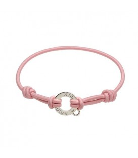 Pink Cord and Sterling Silver Charm Bracelet 7.5""