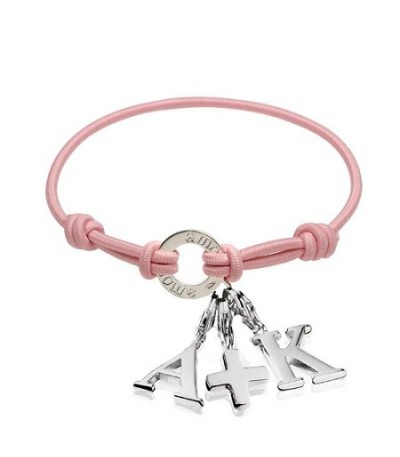 Charms - Pink Cord Charm Bracelet in 925 Sterling Silver