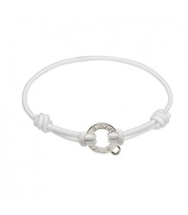 White Cord and Sterling Silver Charm Bracelet 7.5""