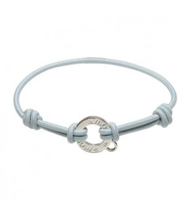 Pale Blue Cord and Sterling Silver Charm Bracelet 7.5""