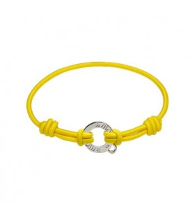 Lemon Cord and Sterling Silver Charm Bracelet 7.5""
