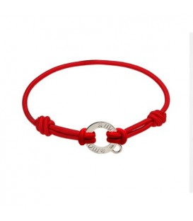 Red Cord and Sterling Silver Charm Bracelet 7.5""