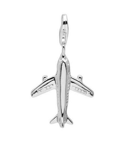Charms - Plane Clip on Charm in 925 Sterling Silver