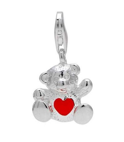 Charms - Teddy Bear Clip on Charm in 925 Sterling Silver