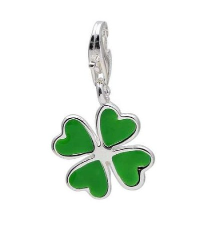 Charms - Four Leaf Clover Clip on Charm in 925 Sterling Silver