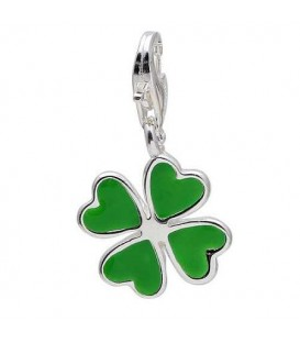 Four Leaf Clover Clip on Charm in 925 Sterling Silver