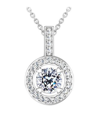 Necklaces - 0.53 Carat Pristine Hearts Pendant 18Kt White Gold