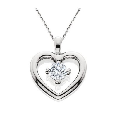 Necklaces - 0.46 Carat Eternitymark Round Cut Diamond Solitiare Necklace 18Kt White Gold