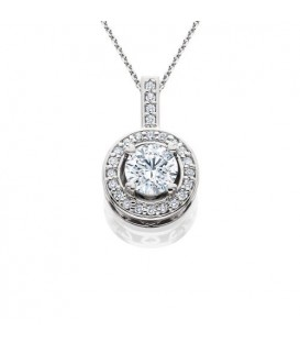 Necklaces - 0.63 Carat Eternitymark Round Cut Diamond Solitiare Necklace 18Kt White Gold