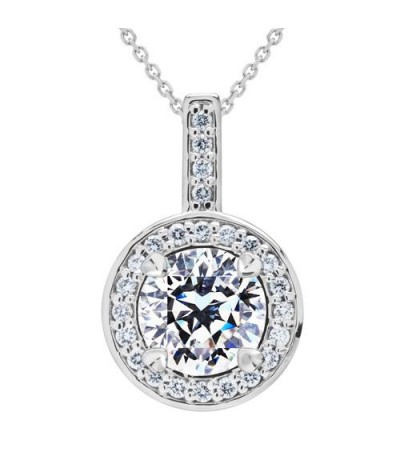 Necklaces - 0.79 Carat Pristine Hearts Pendant 18Kt White Gold