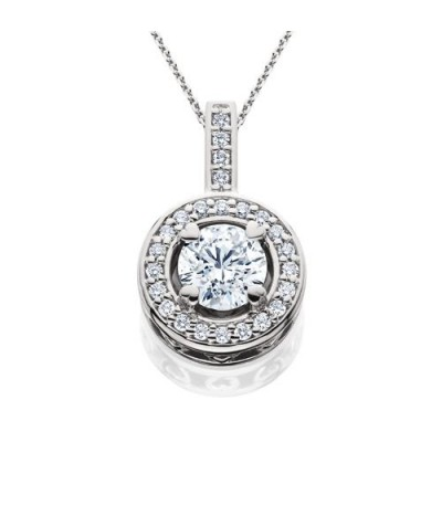 Necklaces - 0.91 Carat Eternitymark Round Cut Diamond Solitiare Necklace 18Kt White Gold