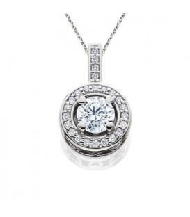 0.91 Carat Eternitymark Round Cut Diamond Solitiare Necklace 18Kt White Gold