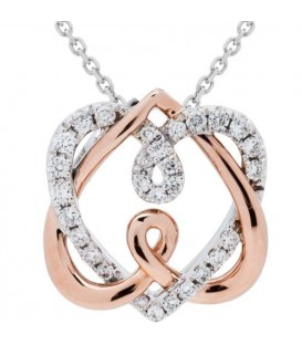 Necklaces - 0.21 Carat Diamond Pendant 18Kt Two-Tone Gold