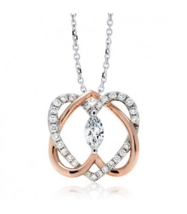 Necklaces - 0.50 Carat Diamond Pendant 18Kt Two-Tone Gold