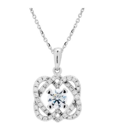 Necklaces - 0.77 Carat Eternitymark Diamond Pendant 18Kt White Gold