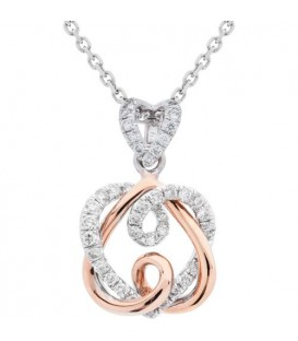 0.28 Carat Diamond Pendant 18Kt White and Rose Gold
