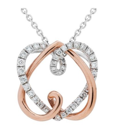 Necklaces - 0.25 Carat Eternitymark Diamond Pendant 18Kt White and Rose Gold