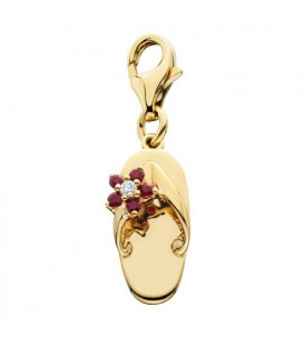 Charms - 0.10 Carat Round Cut Ruby and Diamond Sandal Charm 14Kt Yellow Gold