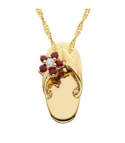 Necklaces - 0.10 Carat Round Cut Ruby and Diamond Sandal Pendant in 14Kt Yellow Gold