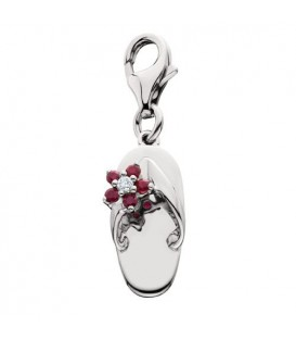 0.10 Carat Round Cut Ruby and Diamond Sandal Charm in 14Kt White Gold
