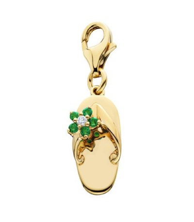 Charms - 0.09 Carat Round Cut Emerald and Diamond Sandal Charm in 14Kt Yellow Gold