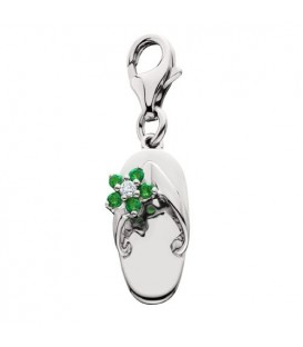 0.09 Carat Round Cut Emerald and Diamond Sandal Charm in 14Kt White Gold