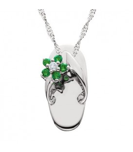 Necklaces - 0.09 Carat Round Cut Emerald and Diamond Sandal Pendant in 14Kt White Gold
