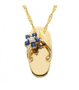 Necklaces - 0.10 Carat Round Cut Sapphire and Diamond Pendant in 14Kt Yellow Gold