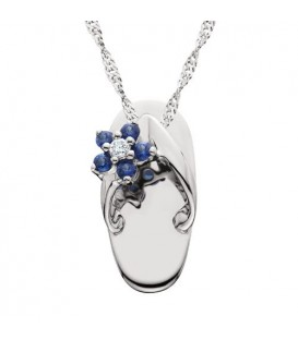 0.10 Carat Round Cut Sapphire and Diamond Sandal Pendant in 14Kt White Gold
