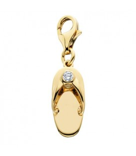 0.05 Carat Round Cut Diamond Sandal Charm in 14Kt Yellow Gold