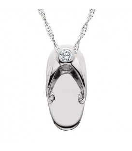 Necklaces - 0.05 Carat Round Cut Diamond Sandal Pendant in 14Kt White Gold