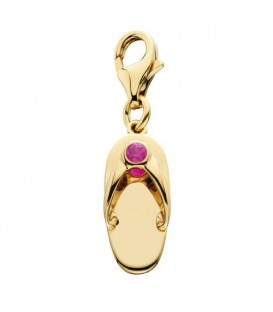 Charms - 0.07 Carat Round Cut Ruby Sandal Charm in 14Kt Yellow Gold
